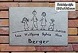 Edelstahlschild / Familienschild /Namensschild / Türschild in Edelstahl gebürstet, in der Größe 150x100mm, selbstklebend, mit Bohrungen oder mit Abstandhalter lieferbar