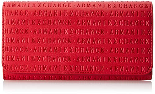 Armani Exchange Damen Wallet With Stud Geldbörse, Rot (Red), 10.5x3x19 cm