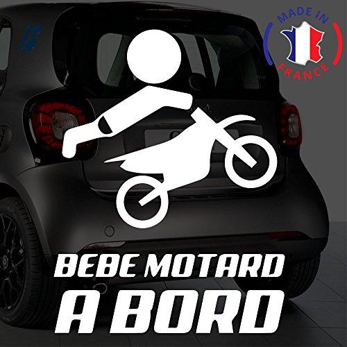 Sticker bébé à bord pour voiture Moto Cross 20 cm Blanc - Anakiss
