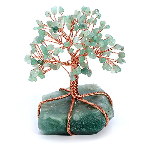 JSDDE Feng-Shui Geldbaum Edelstein Baum des Lebens Dekor Wire Wrap Trommelsteine Lebensbaum 7 Chakra Glückbaum Familie Büro Tisch Dekoration (Grün Aventurin)