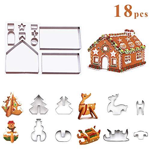 ZoneYan Plätzchen Ausstecher 3D, 18 Stück 3D Ausstechformen Weihnachten Edelstahl Ausstecher Set,Kekse Ausstechformen, keksausstecher 18 stück Weihnachten, 3D keksausstecher Weihnachten