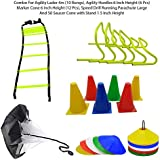 Foricx Combo Of Flat Regular Adjustable Speed Agility Ladder (4M With 10 Rungs) | Pack Of 12 Marker Cones (6 Inch) For Soccer Cricket Track And Field | Saucer Cones Set Of (50) | Speed Drills Training Resistance Parachute Running Chute Power Tool Aid Fitn
