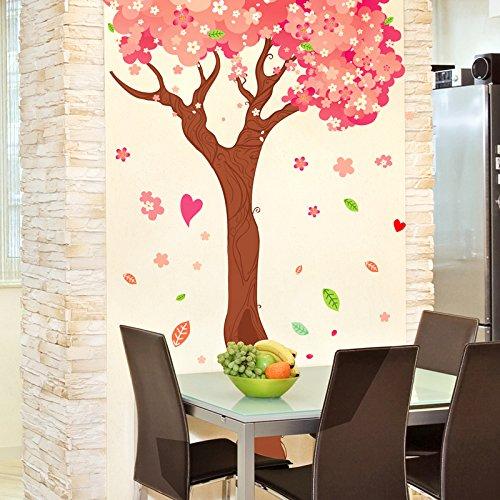 RUIPENGPENG Wall Sticker Aufkleber wasserdicht Abnehmbare für Wohnzimmer Kinder Baby Nursery Aufkleber warmen und vollen Haus Kirschbaum Bett Zimmer Wandschmuck, Cherry Blossom Blätter, König -