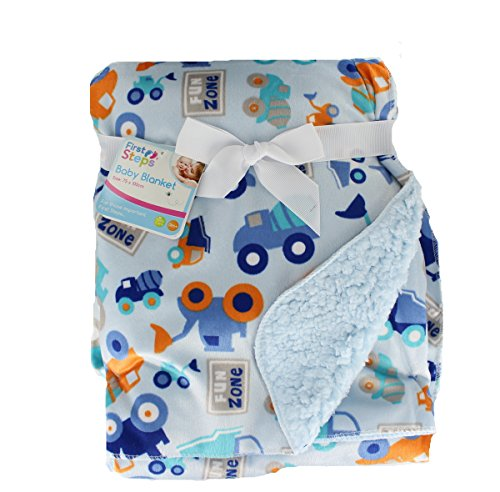 first-steps-soft-colourful-printed-design-sherpa-lined-baby-blanket-blue-cars-trucks