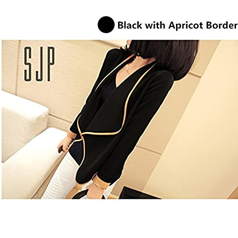 Evtech(tm) Women's Fashion Style Casual Suit Long-sleeved Short Jacket Slim Loose Cardigan Coat - Black with Apricot Border