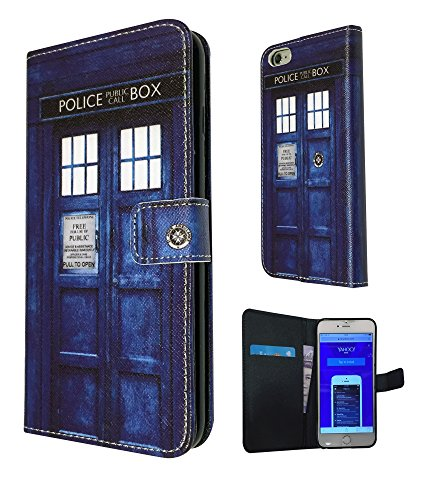 Doctor Who Tardis Police Call Box 3D Design Fashion Trend Porte-cartes Portefeuille en TPU Étui à rabat en cuir style livre pour tous les 11,9 cm iPhone 6/iPhone 6 Plus 14 cm/iPhone 4/4S