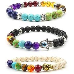 3pcs Piedra de Lava pulsera elástica 8mm Bead piedra Buda mano de Fátima encanto piedra de ojo de tigre Yoga equilibrio reiki curación