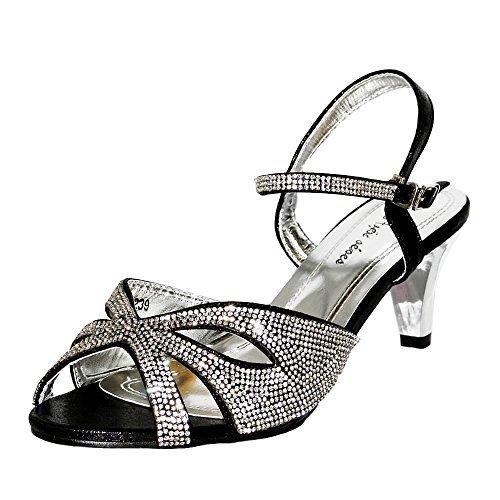 7dc3cc7303e Rock on Styles Ladies Party Diamante Wide Feet Low Kitten Heel Shoes Sandal  Plus Size A-239 (UK 7   EU 40