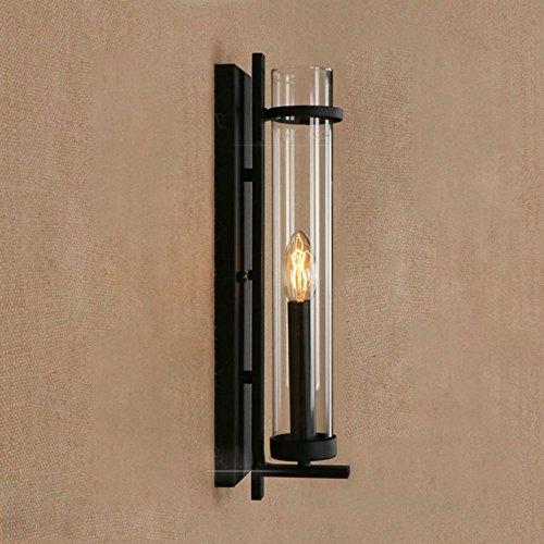 Maniny Retro Wandleuchten Einfache kreative schwarze industrielle Glaswand Lampe Loft Industrie Café Wohnzimmer E14 Bolt Edison Glas Transparente Rohr Wandleuchten 110V-220V (Neue Forschung und Entwicklung) -