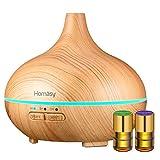 Homasy Humidificador Ultrasónico Aromaterapia, Difusor de Aceites Esenciales 150 ML, Regalo 2 * 2ml Aceites Esenciales, 7-Color LED, Auto-Apaga, Ambientador, para Bebé, Dormitorio, Oficina etc