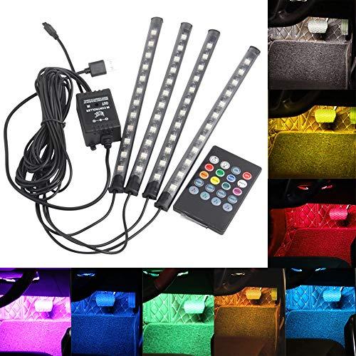 Luces de Tira de Coche 12 LED Luces Interiores de Coche de Varios Colores LED Atmósfera Espacio para Pies Decoración Luz de Tiras Led Control Remoto Inalámbrico Música + Control de voz