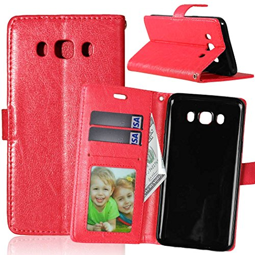 Iphone Stand-up-fall (Samsung J5 2016 J510 J56 Fall feste Folio magnetische Design Flip Brieftasche Stil Fall Farbmuster PU-Leder-Abdeckung Standup-Abdeckungsfall für Samsung J5 2016 J510 J56 ( Color : Red , Size : Samsung J5 2016 J510 J56 ))
