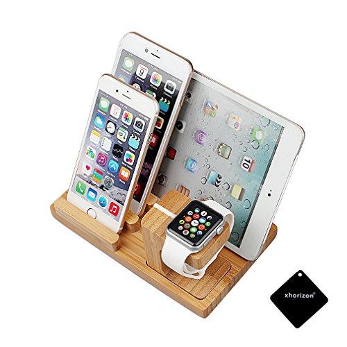 Preisvergleich Produktbild Apple Watch Mit Telefon/Ipad/Ladestation, xhorizon TM MW8 3-in-1 Bambusholz Tischständer Ladehalterung Klammerstation Plattform Halter FederHalter für AppleWatch iPhone iPad und andere Phones Tablets