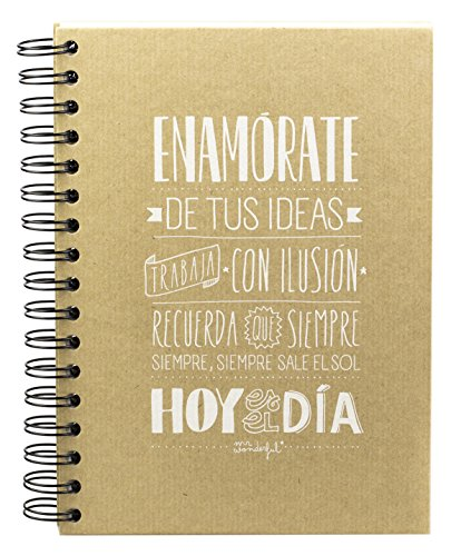 Mr. Wonderful WOA01002 - Libreta con diseño Enamórate de tus ideas, trabaja con ilusión, color marrón