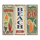 Lot de 3 PLAQUES décorative Murale NEUF métal THEME SURF BAR enseigne Industriel 36cm