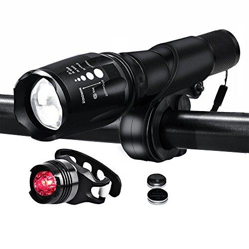 Nestling® LED Fahrradbeleuchtung Fahrradlampe Fahrradlicht Set inkl. Frontlichter und Rücklicht, Halterung, Zoombarer Effekt, 900 Lumen,3 Licht-Modi für Berg-Radfahren, Camping und täglichen Gebrauch