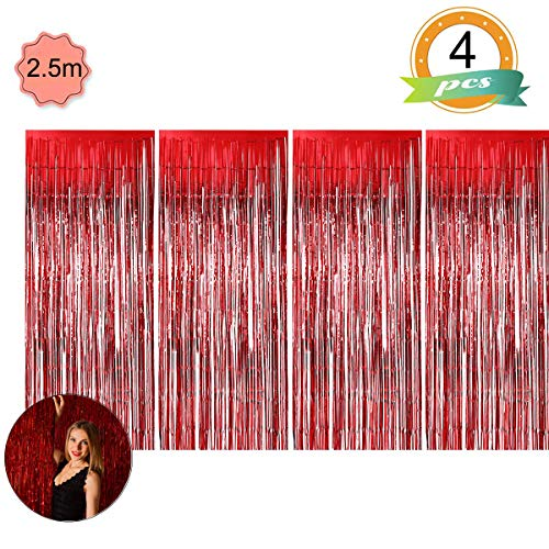 ) 4 Stück Lametta Vorhänge Dekoration Folie Vorhang Glitzer Deko Glänzende Fransenvorhang Fransen für Hochzeit Disco Geburtstagsdekoration DIY Party Favor Dekorationen (Rot) ()