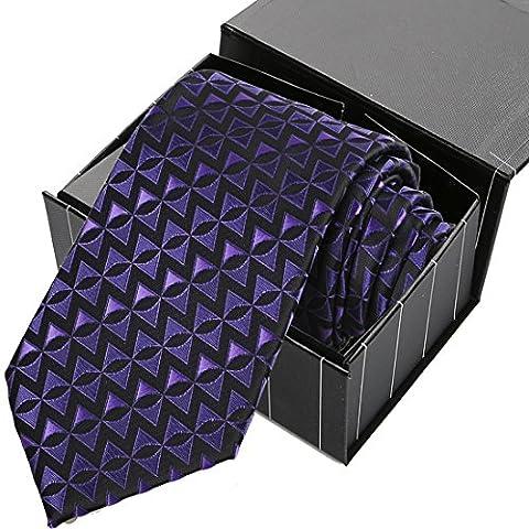 KissTies Purple Black Tie Gear Triangle Geometric Pattern Necktie + Magnetic Box