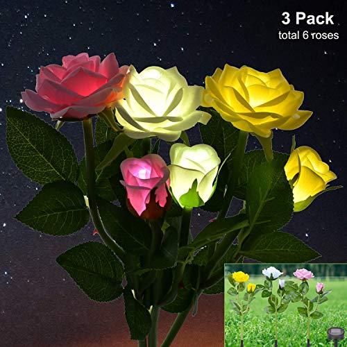OTraki Solarleuchte Garten Beleuchtung Außen, 3 Packung Rose Led Gartenleuchten Solar Farbwechsel Gartenlampen, Dekoration Lichter für den Garten Rasen Feld Terrasse Feld Weg (Garten Licht Solar Rose)