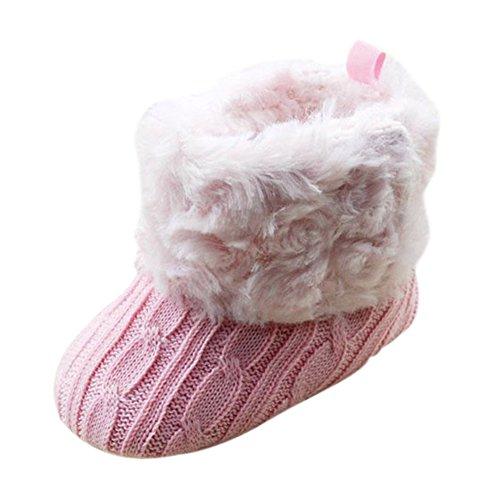TOOGOO(R) Enfant Bebe Crochet / Tricot Bottes Polaires Petits Filles Laine Neige Crib Chaussures Bottines Rose Taille M (6-12 mois)