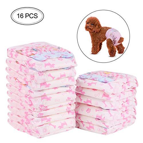 RCruning-EU Windeln für Hündinnen Hunde Windeln Pet Weiche Weiblich Windeln -16Pack (S:3-5KG)