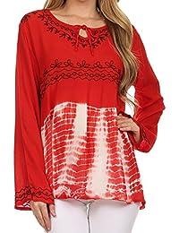 Sakkas carla tie-dye brodée top tunique/ chemisier pour les femmes