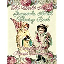 Old World Angels Grayscale Adult Coloring Book