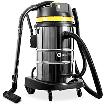 Klarstein IVC-50 Aspirapolvere (aspiratore a secco/umido con doppio motore aspiratutto 2000 W e contenitore in acciaio inossidabile da 50 litri) - giallo