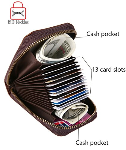 iSuperb RFID Kreditkartenetui kartenetui und Leder Geldbörse Portemonnaie Münzbörse für Herren und Damen 11.5x7.5x3.5cm (Braun) Braun