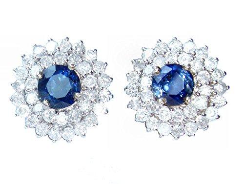 5.58ct Ceylon Zaffiro e Diamante Orecchini In 12K, colore: bianco - Ceylon Sapphire