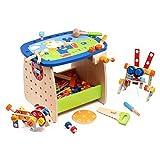 Rolimate Banco da tavolo in legno da lavoro per bambini di Workbench Pretend Set Builder, martello e tavolo da sega (40x30x31cm)