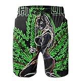 bbelieve Beauty Psychedelic Marihuana Leaf Weed Schwarz Classic-Fit Badehose Big & Tall Half Pants für Jungen Herren, Lose Badeanzüge M