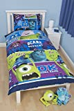 Disney Monsters University Bed Bettbezug Set - Wende Bettwäsche mit Kissenbezug
