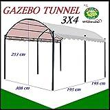 Nuovo modello del gazebo 3x4 Tunnel in metallo - Telo in Poliestere da 180 gr colore Ecru chiaro - Basi preforate per ancoraggio al suolo - Pali in ferro da 40x40x2,5mm - Ideale per coprire l'auto -Prodotto mercato e distribuito in esclusiva ...