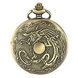 SIBOSUN Taschenuhr Herren Antike chinesischen Drachen Jahrgang Quarzwerk Bronze Sternzeichen arabischen Ziffern Kette Box