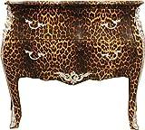 Casa Padrino Barock Kommode Leopard mit silbernen Metall Applikationen