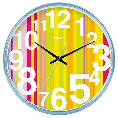 DIDADI Wall Clock Kreisförmige Uhrenbatterie mute Wanduhr hinter dem Motor Schlafzimmer beigefügte Tabelle Herr Ding clock Kalender Quarzuhr Wohnzimmer, 10 Zoll, die normale Version blau