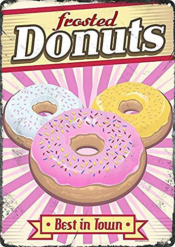 RABEAN Frosted Donuts Póster de Pared Aluminio Metal Creativo Placa Decorativa Cartel de Chapa Placas Decoración Hogar Estar Oficina Café Bar