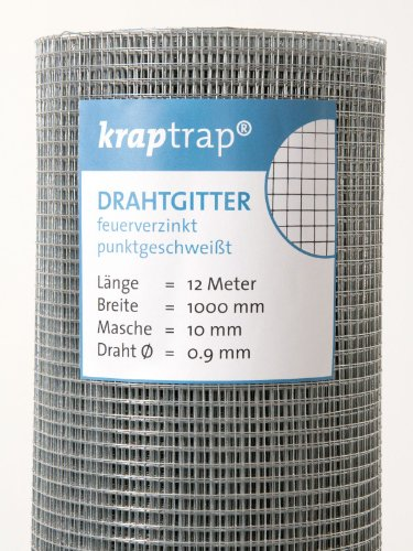 KrapTrap® 10x10mm Masche 12 x 1m Volierendraht Drahtgitter Drahtzaun Käfigzaun Hasendraht