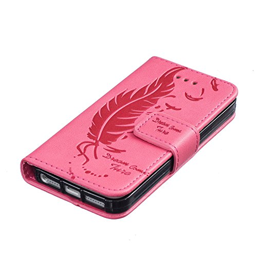 Für iPhone 6 6S Plus Hülle Flip Case,EMAXELERS iPhone 6S Plus Case,iPhone 6 Plus Case, iPhone 6S Plus Hülle Leder,Solid Feder Muster Hülle chutzhülle Case Cover Etui Schale mit Standfunktion Kartenfäc Feather 2