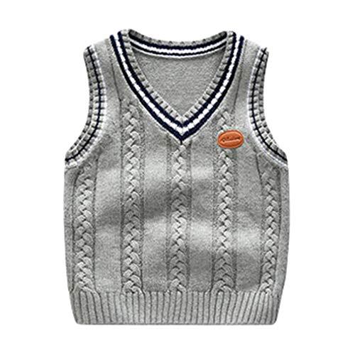 Mxssi Kinder Weste - Unisex Kind Klassisch Retro Britischer Stil Ärmellos Top Elegant Täglich Wild Sweater Atmungsaktiv Skin-Friendly Pullover