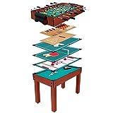 Anaterra Spieletisch 9 in 1, Kickertisch, Billard, Tischtennis, Schach, Hockey - Multispieletisch mit umfangreichem Zubehör