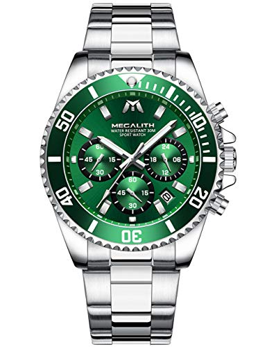 Montre Homme Montres Bracelets Etanche Design Chronographe Lumineuses Classique Montres en Acier Inoxydable Argent Grand Cadran Vert Date Analogique Robe Mode