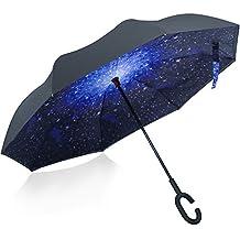 Opret Paraguas Invertido, el Mejor Paraguas Original Inverso Antiviento Grande, Paraguas Plegable de Dentro Afuera con Manos Libres, Mango en Forma de C, para Mujer y Hombre
