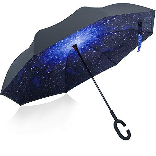 Opret Paraguas invertido, el mejor Paraguas invertido a prueba de viento, paraguas (6 colores) de dentro afuera con manos libres, mango en forma de C, para mujeres y hombres