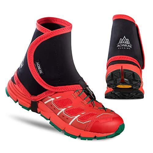 Azarxis Low Trail Ghette Copriscarpe di Protezione Wrapid Gators per Uomini e Donne e Giovani Running Arrampicata (Rosso & Nero)