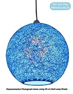 Salebrations 50 cm Dia Menaka Blue Hanging Ball Lamp Shade With Yarn And Led Bulb