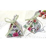 50 pièces Better-way - Jolies boîtes cadeaux à dragées ou bonbons en forme de triangle et motif tropical pour les mariages ou fêtes, avec rubans, Papier, Rose Flowers, 5 Inch