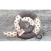 Bettschlange, Patchwork Grau/Weiß mit Sternen, 180cm/210cm/250cm, Handmade, Baby Nestchen