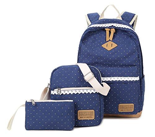 Medium Rucksack Schule (Tibes leinwand rucksack leicht schule rucksack 3pcs set schultasche Blau)